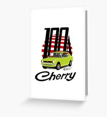 Datsun Cherry 100a - Green Greeting Card