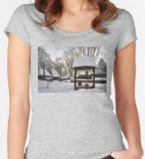 Pastoral winter scene Women's Fitted Scoop T-Shirt