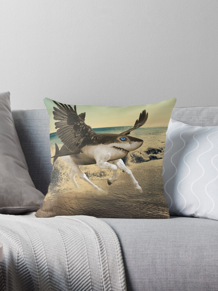 "Shark Pillow a shark with horse legs and wings."" throw pillows"
