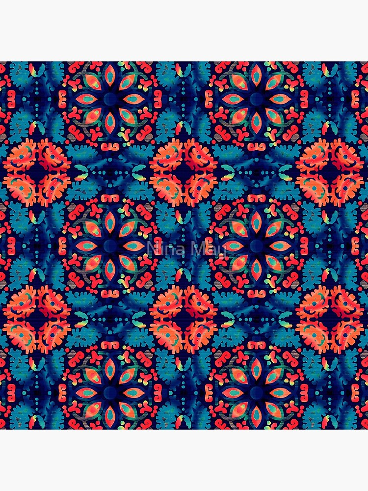 Orange and Blue Tile by ninabmay