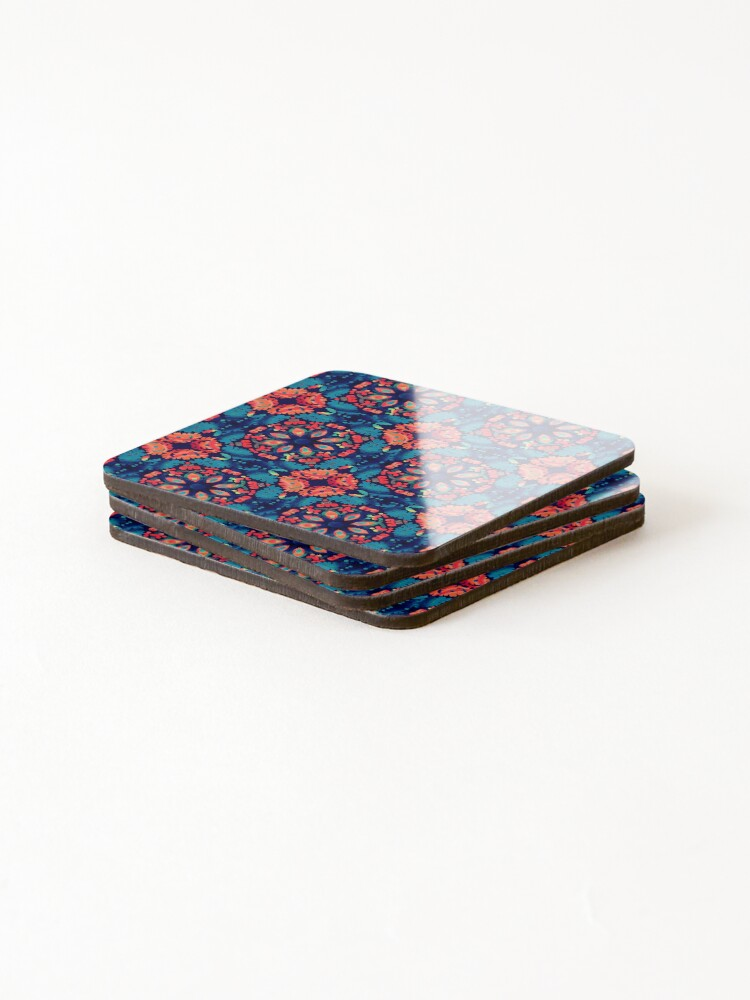 Alternate view of Orange and Blue Tile Coasters (Set of 4)