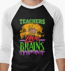 Halloween Teachers Love Brains Men's Baseball ¾ T-Shirt