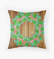 Holly and Mistletoe Wreath - Infilled - Natural Floor Pillow