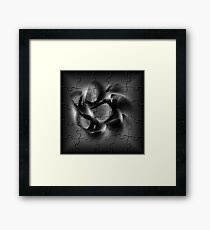 BLACK PUZZLE WIND Framed Print
