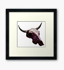 Golden Pattern on Purple Cow Skull Design v.3  Framed Print