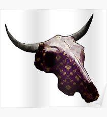 Golden Pattern on Purple Cow Skull Design v.3  Poster