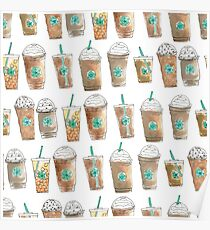 Coffee Cup Line Up in White Cream Poster