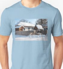 Sunny day at a beautiful heritage Romanian house covered in heavy snow T-Shirt