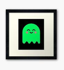 Cute Ghost Green Glow Framed Print