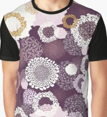 Doily Flowers in Pink, White and Mustard on Purple Graphic T-Shirt