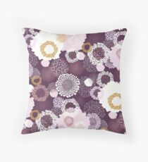 Doily Flowers in Pink, White and Mustard on Purple Floor Pillow