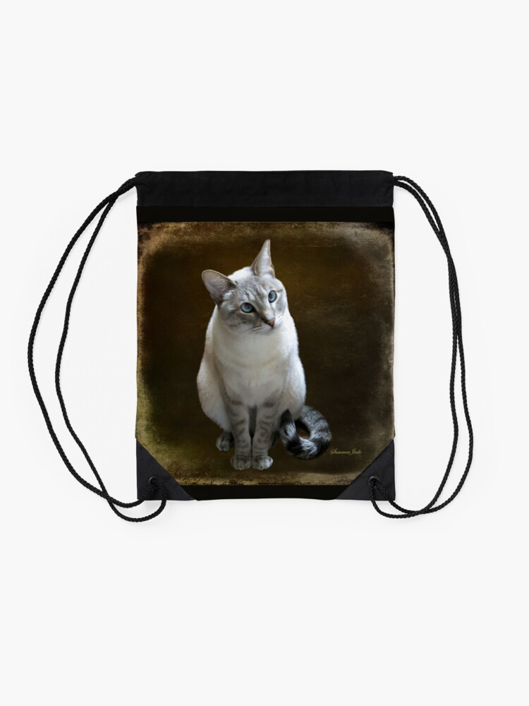 Alternate view of Lilac Point Siamese ~ Old Blue Eyes Drawstring Bag