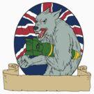Grey Wolf Holding Bomb Union Jack Drawing by patrimonio