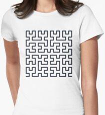 Hilbert Curve Fractal Women's Fitted T-Shirt