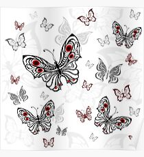 Seamless Pattern of Gray Butterflies Poster