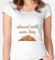 Vegan Almond Milk, Go Vegan Art, Almond Milk Saves Lives Women's Fitted Scoop T-Shirt