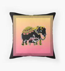 Ornate Elephants in Yellow, Pink, & Black Floor Pillow