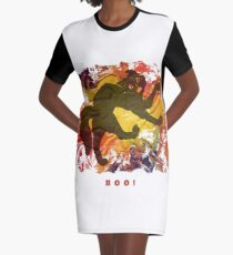 BOO! HALLOWEEN SCARY CAT Graphic T-Shirt Dress