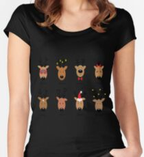 Santa's Reindeer Women's Fitted Scoop T-Shirt