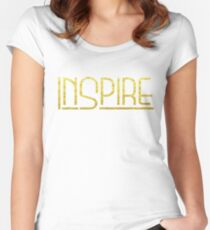 Shirt That Says Inspire Yoga Shirt Gold Text Graphic Tee Women's Fitted Scoop T-Shirt