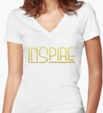 Shirt That Says Inspire Yoga Shirt Gold Text Graphic Tee Women's Fitted V-Neck T-Shirt