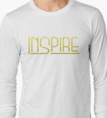 Shirt That Says Inspire Yoga Shirt Gold Text Graphic Tee Long Sleeve T-Shirt