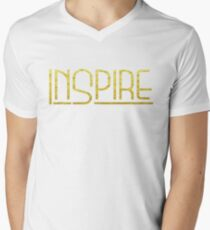 Shirt That Says Inspire Yoga Shirt Gold Text Graphic Tee Men's V-Neck T-Shirt
