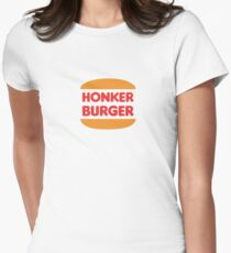 Honker Burger | Nickelodeon Doug | Burger King Style Women's Fitted T-Shirt