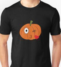 Pumpkin Emoji Emoticon Heart Kiss Wink Halloween  T-Shirt