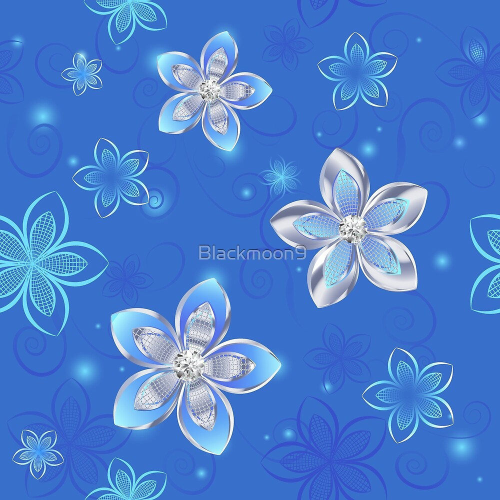 Seamless Pattern of Silver Flowers by Blackmoon9