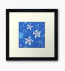 Seamless Pattern of Silver Flowers Framed Print