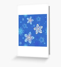 Seamless Pattern of Silver Flowers Greeting Card