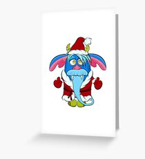 Monster-grandfather with blue hair, mustache and beard, horns and fangs in the clothes of Santa Claus. Cartoon flat style vector illustration. Greeting Card