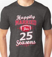 25th Wedding Anniversary Funny Football Lover Gift T-Shirt