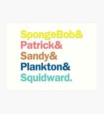 SpongeBob Squarepants Characters   Colors Art Print