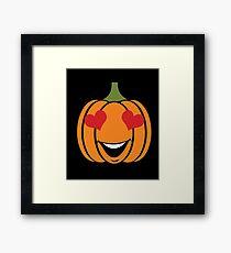 Pumpkin Emoji Heart Eyes Smiley Face Halloween  Framed Print