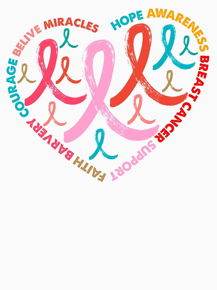 Vintage Retro colors heart Pink Ribbon Breast Cancer Awareness by bestdesign4u