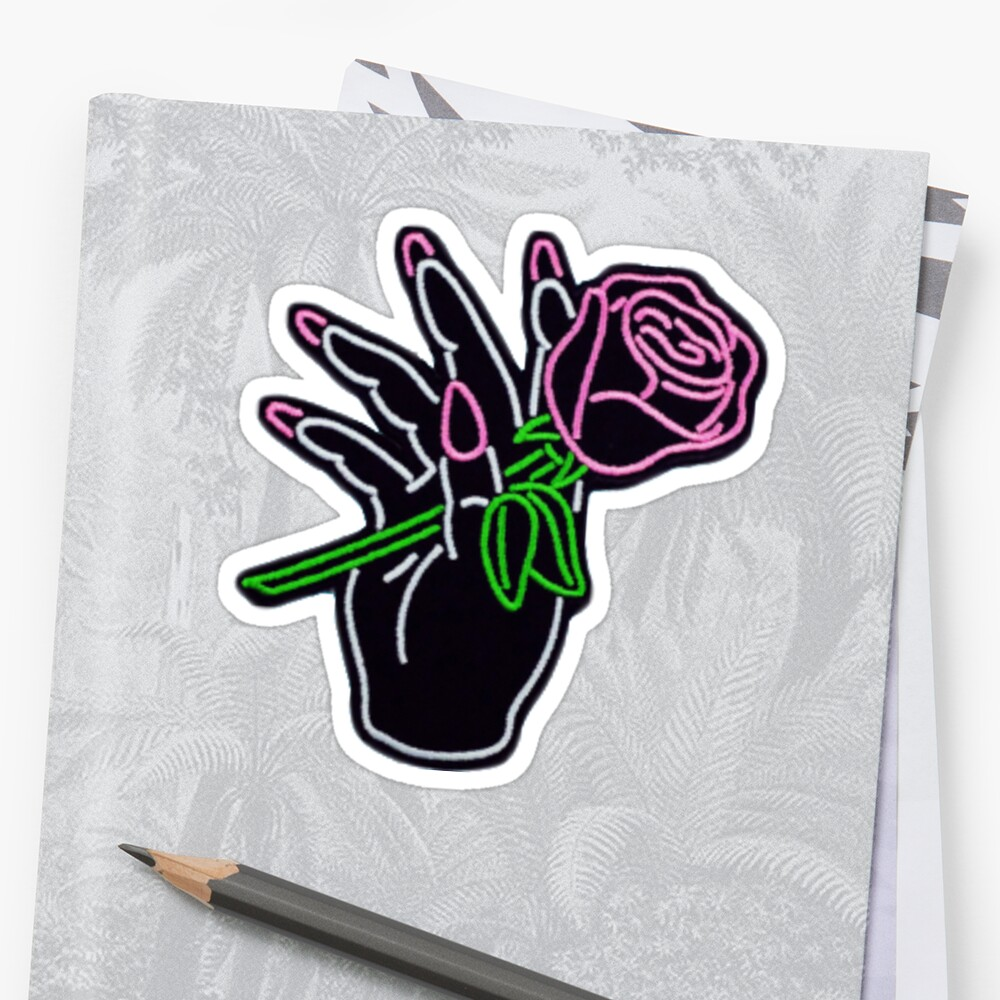 Hand Holding Rose Stickers By Tyecalifornia Redbubble
