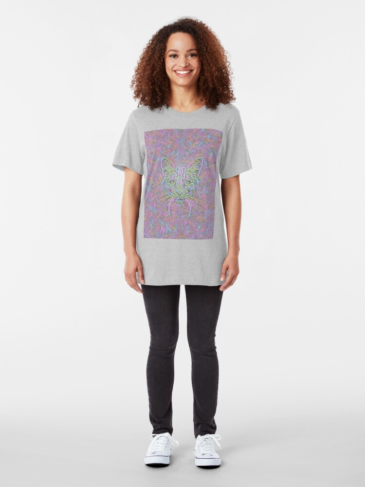 Alternate view of Abstract Cat Slim Fit T-Shirt