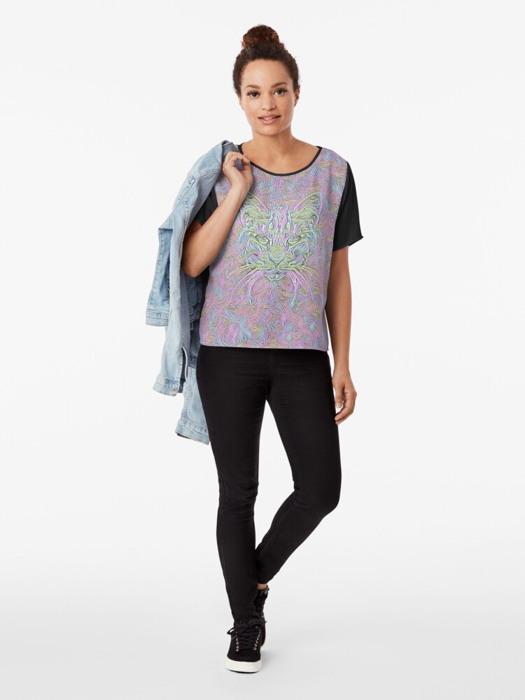 Alternate view of Abstract Cat Chiffon Top