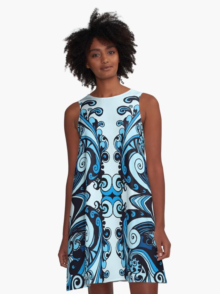 Miniature Aussie Tangle 15 Var 1 Blue  A-Line Dress Front