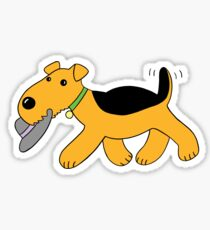Cartoon Airedale Terrier Dog With Hat Sticker