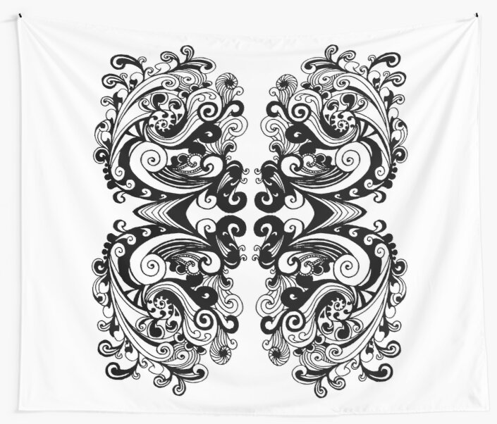 Miniature Aussie Tangle 15 Var 2 Pattern in Black Transparent by Heatherian