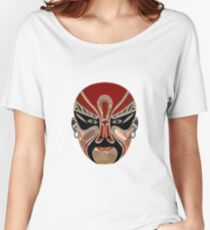 Peking Opera Facial Masks In Red And Black Women's Relaxed Fit T-Shirt