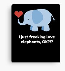 Cute Kids Shirt for Children who Love Elephants with Quote Canvas Print