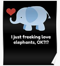 Cute Kids Shirt for Children who Love Elephants with Quote Poster