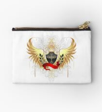 Black shield with golden wings Studio Pouch