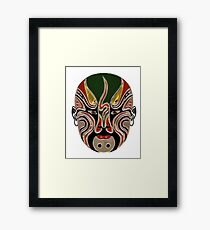 Peking Opera Facial Masks In Green And Red Framed Print