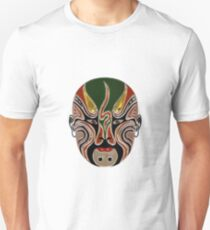 Peking Opera Facial Masks In Green And Red T-Shirt