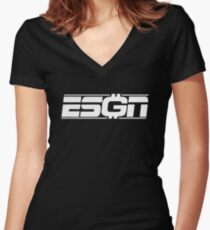 ESGN wht Women's Fitted V-Neck T-Shirt